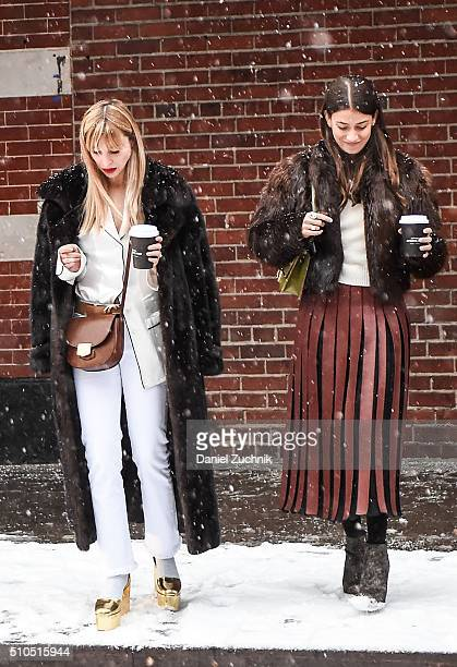 Guests are seen outside the Thom Browne show during New York Fashion Week Women's Fall/Winter 2016 on February 15 2016 in New York City