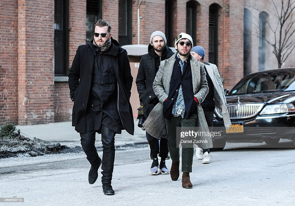 Guests are seen outside the Tim Coppens show on February 15, 2015 in New York City.
