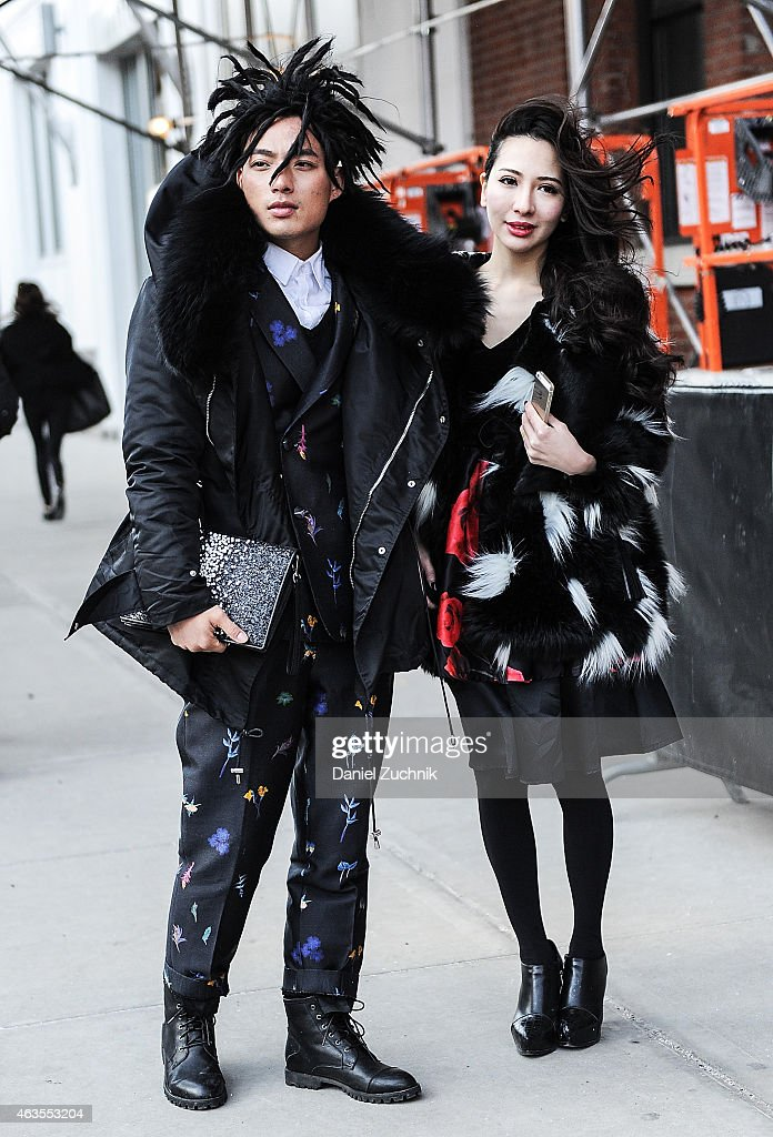 Guests are seen outside the Yigal Azrouel show on February 15, 2015 in New York City.
