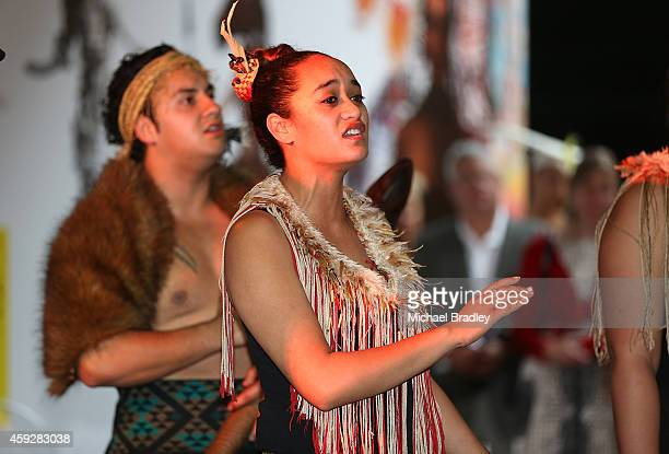 Guests are welcomed with a traditional Maori welcome at the Auckland War Memorial Museum's World of Wearable Art exhibition opening at Auckland...