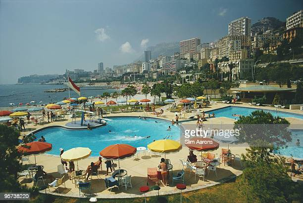 Guests around the pool at the Monte Carlo Beach Club Monaco August 1970