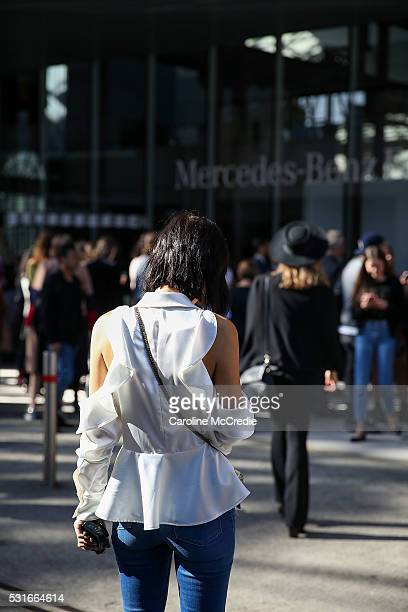 Guests arrive ahead of the Ginger and Smart show at MercedesBenz Fashion Week Resort 17 Collections at Carriageworks on May 16 2016 in Sydney New...