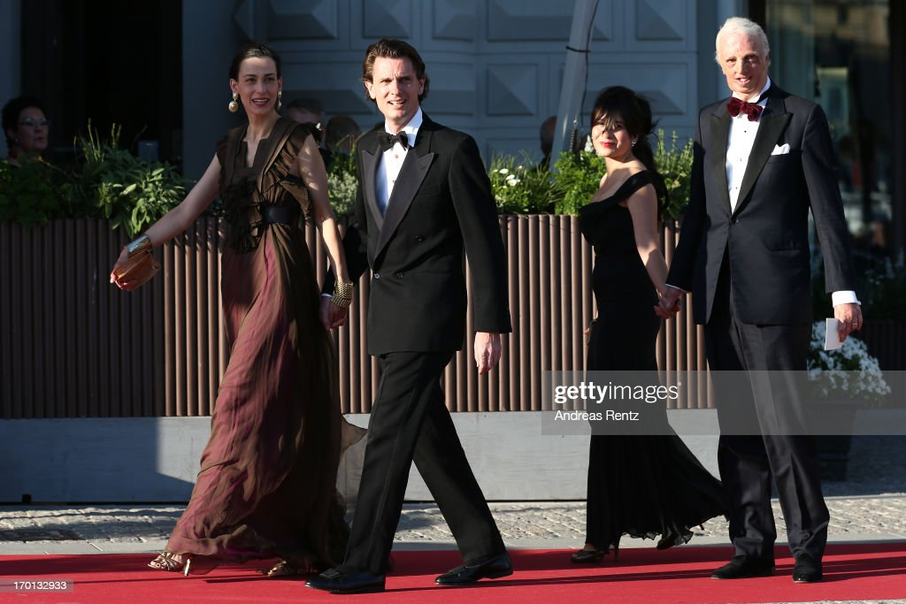Guests arrive at a private dinner on the eve of the wedding of Princess Madeleine and Christopher O'Neill hosted by King Carl XVI Gustaf and Queen Silvia at The Grand Hotel on June 7, 2013 in Stockholm, Sweden.
