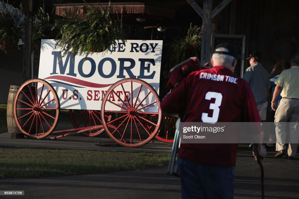 Guests arrive at a rally for Republican candidate for the U.S. Senate in Alabama Roy Moore on September 25, 2017 in Fairhope, Alabama. Moore is running in a primary runoff election against incumbent Luther Strange for the seat vacated when Jeff Sessions was appointed U.S. Attorney General by President Donald Trump. The runoff election is scheduled for September 26.