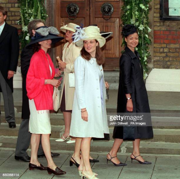 Guests arrive at the Greek Orthodox Cathedral of St Sophia in Bayswater west London for Princess Alexia's wedding to Carlos Morales Quintana of Spain
