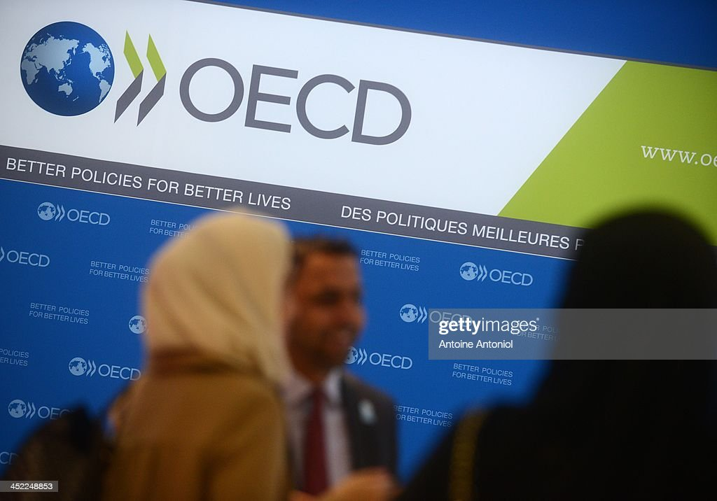 Guests arrive at the presentation of the candidacies for the 2020 World Expo at the OECD headquarters on November 27 2013 in Paris France