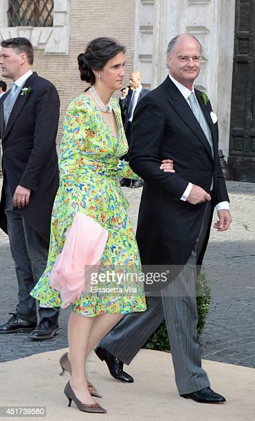 Guests arrive at wedding of Prince Amedeo Of Belgium and Elisabetta Maria Rosboch Von Wolkenstein at Basilica Santa Maria in Trastevere on July 5...