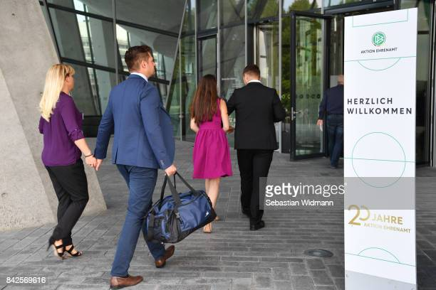 Guests arrive for the Awarding Ceremony at the 20th anniversary of Volunteering for the Club 100 at MercedesBenz Museum on September 4 2017 in...