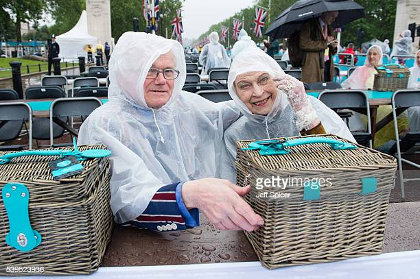 Guests arrive for 'The Patron's Lunch' celebrations for The Queen's 90th birthday at The Mall on June 12 2016 in London England