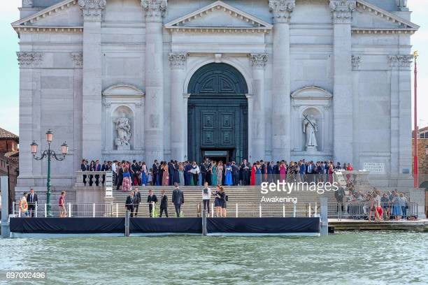 Guests arrive to the wedding of Spanish professional footballer Alvaro Morata and Italian model Alice Campello at the Redentore Church on June 17...