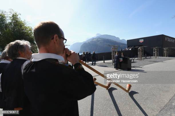 Guests arrives for a press conference during the international launch of the TAG Heuer Connected Modular 45 Swiss Made on March 14 2017 in Brunnen...