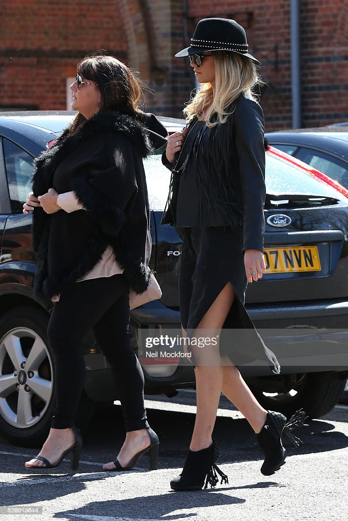 Guests arriving at the funeral of David Guest at Golders Green Crematorium on April 29, 2016 in London, England.