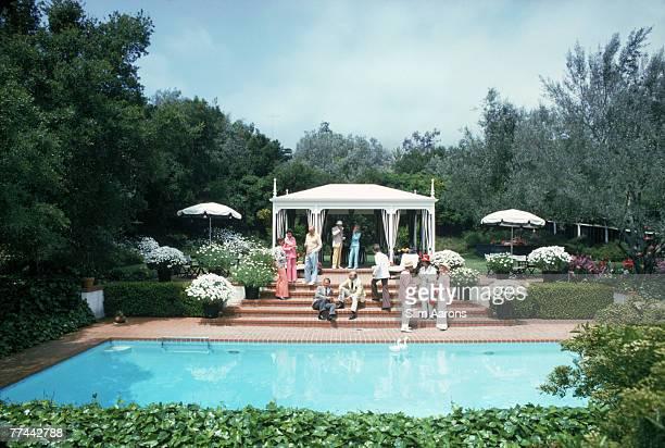 Guests at a poolside party Santa Barbara California May 1975