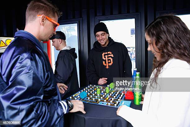 Guests at Bud Light House of Whatever play PacMan arcade games on January 31 leading up to Super Bowl XLIX PacMan was featured in Bud Light's Super...