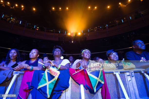 Guests at Jamaica House watch the IAAF World Championships 4X100 Metres Final at Indigo at The O2 Arena on August 12 2017 in London England