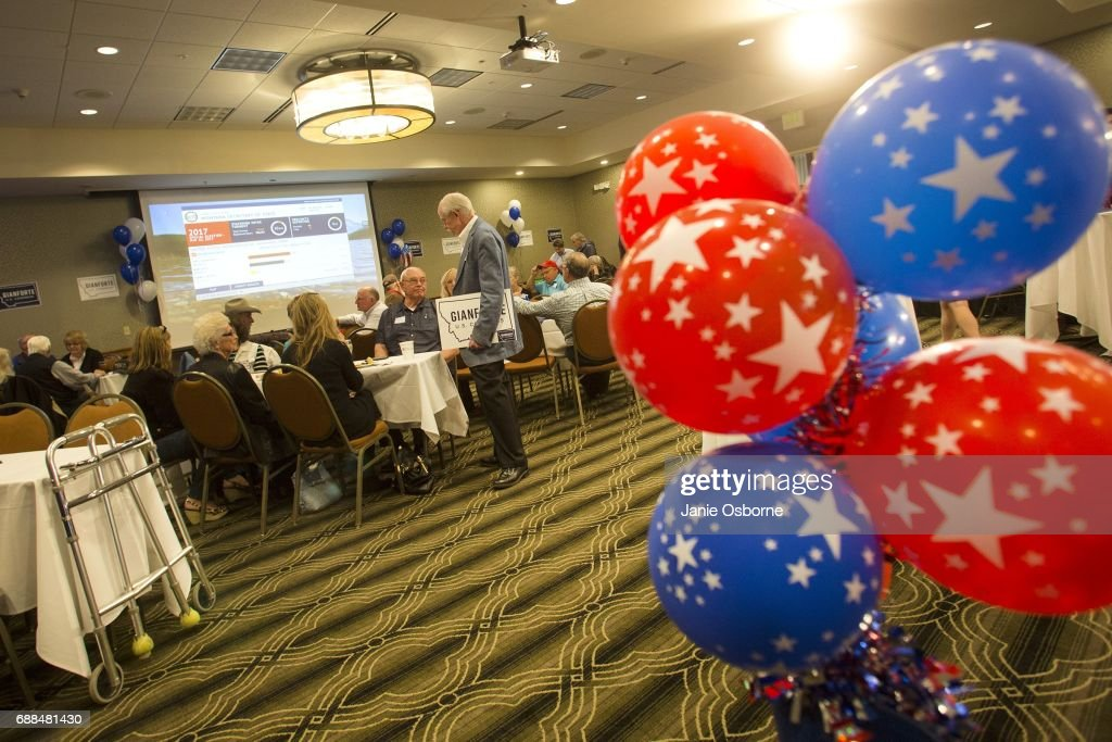 Guests at Republican Greg Gianforte's election party wait to hear the outcome in Montana's special House election against Democrat Rob Quist at the Hilton Garden Inn on May 25, 2017 in Bozeman, Montana. The House seat was left open when Montana House Representative Ryan Zinke was appointed Secretary of Interior by President Trump