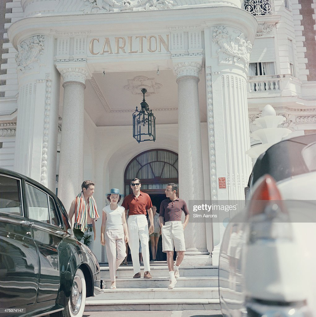 Guests at the entrance to the Carlton Hotel Cannes France 1958