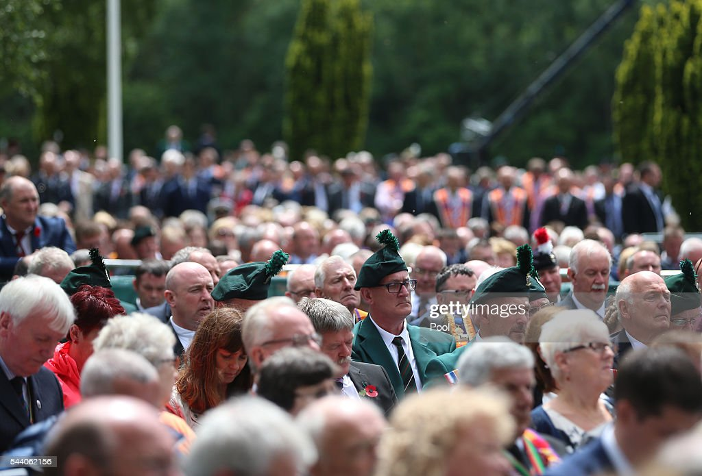 Guests at the Ulster Memorial Tower during a service to mark the 100th anniversary of the start of the battle of the Somme on July 1, 2016 in Thiepval, France. The event is part of the Commemoration of the Centenary of the Battle of the Somme at the Commonwealth War Graves Commission Thiepval Memorial in Thiepval, France, where 70,000 British and Commonwealth soldiers with no known grave are commemorated.