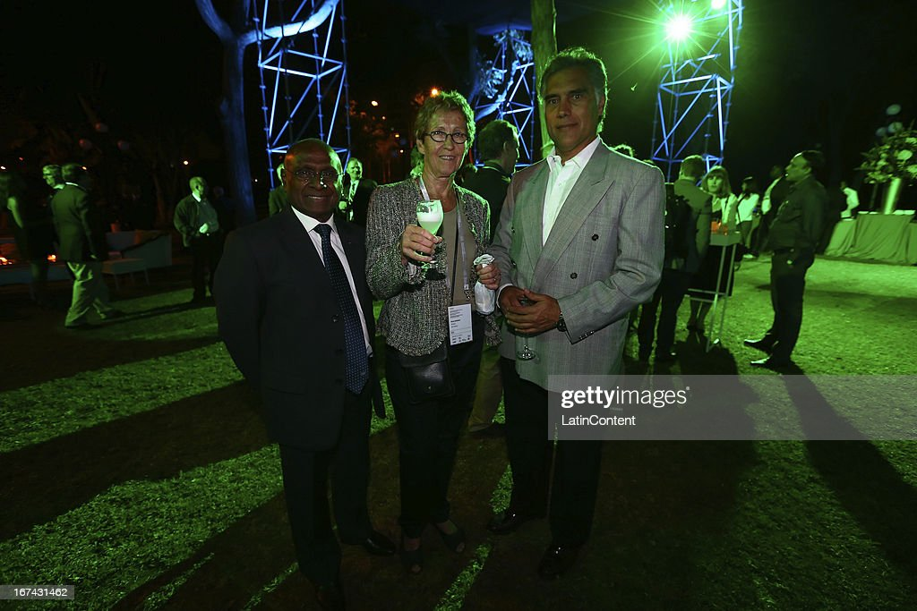 Guests at the Welcome Cocktail of the First Day of the 15th IOC World Conference Sports For All at the Parque Reducto on April 24, 2013 in Lima, Peru.