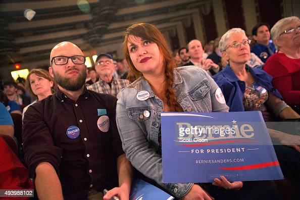 Guests attend a concert hosted by Democratic presidential candidate Senator Bernie Sanders to raise support for his campaign at the Adler Theater on...
