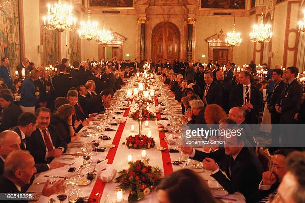 Guests attend a gala dinner for the participants of the Munich conference at Munich royal residence on security policy on February 2 2013 in Munich...