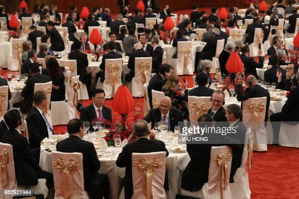 Guests attend a welcome banquet for the Belt and Road Forum at the Great Hall of the People in Beijing on May 14 2017 China touted its new Silk Road...