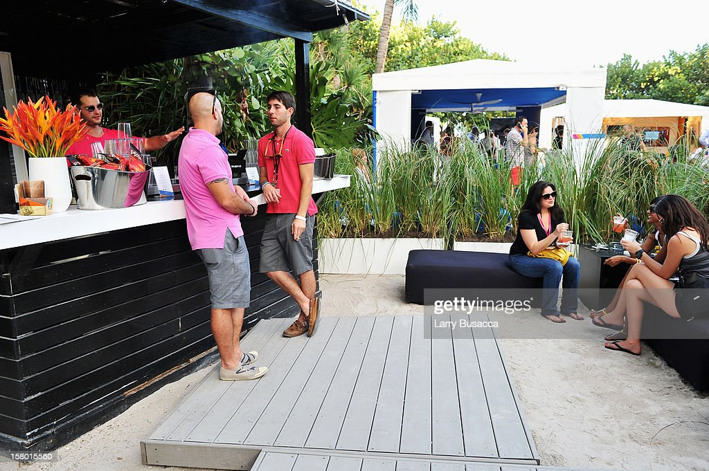 Guests attend AD Oasis hosts Caesarstone's Happy Hour at The Raleigh on December 7, 2012 in Miami, Florida.
