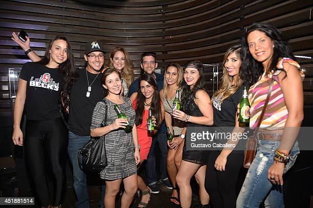 Guests attend as Beck's Beer launches Live Beyond Labels Program with Aloe Blacc and Luis Fonsi at The Electric Pickle Company on July 8 2014 in...