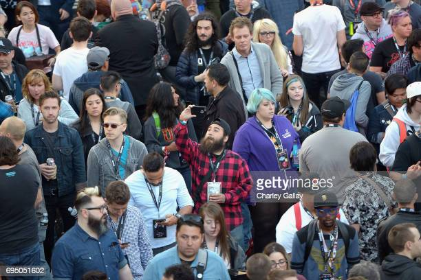 Guests attend as Bethesda Softworks shows off new video game experiences at its E3 Showcase and Bethesdaland event at the Los Angeles Center Studios...