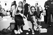 Guests attend at presentation of gym shoes 'DVA MYACHA' Brand at Tsvetnoy Central Market on July 13 2016 in Moscow Russia Restarting of a gym shoes...