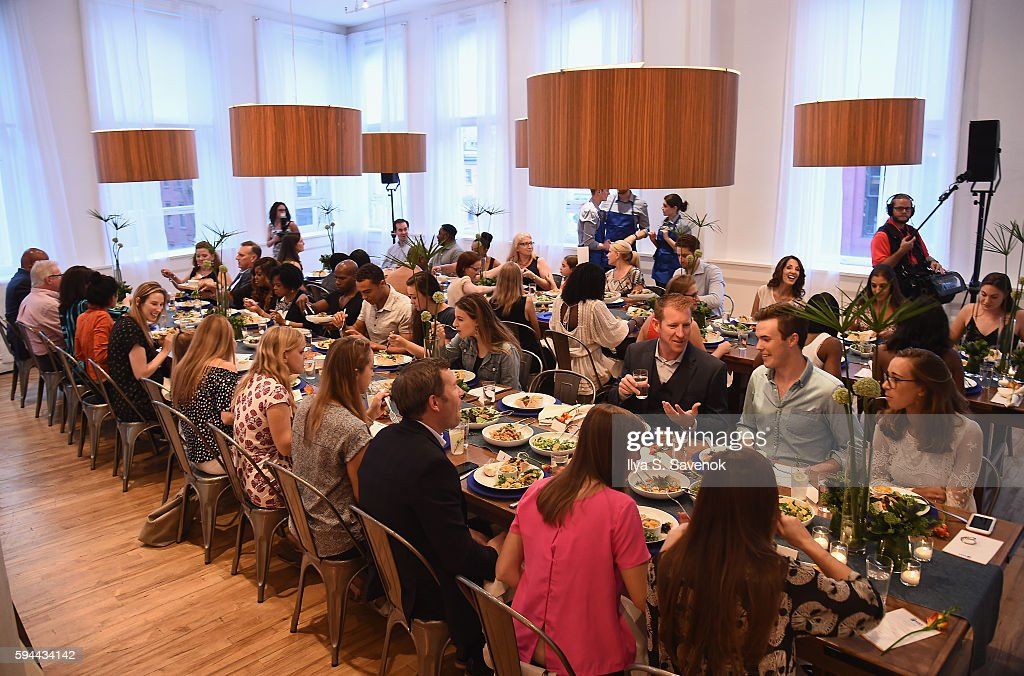 Guests attend Ben's Beginners Cooking Contest Launch Event Back to the Future Of Cooking at Home Studios on August 23 2016 in New York City
