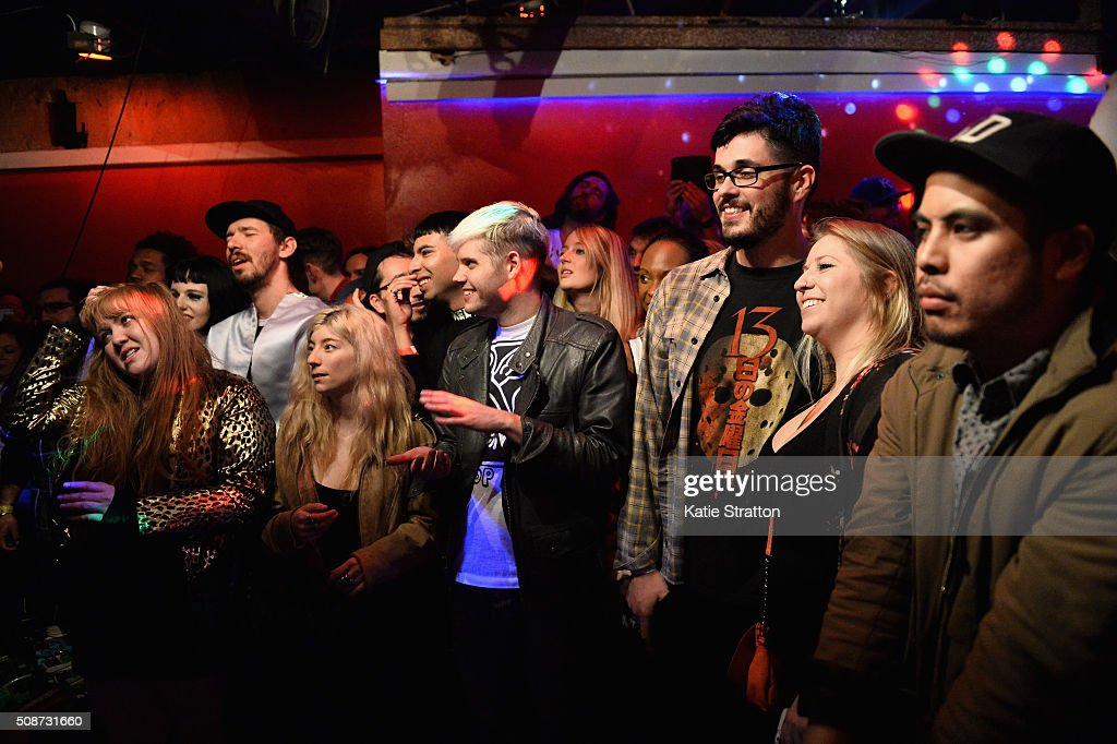 Guests attend Kesha performance during The Silverlake Overpass Four Year Anniversary Party on February 6, 2016 in Los Angeles, California.