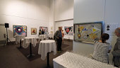 Guests attend 'Rudolf Bauer Forgotten 20th Century Master Painter' Exhibition opening at German Consulate General on September 4 2014 in New York City