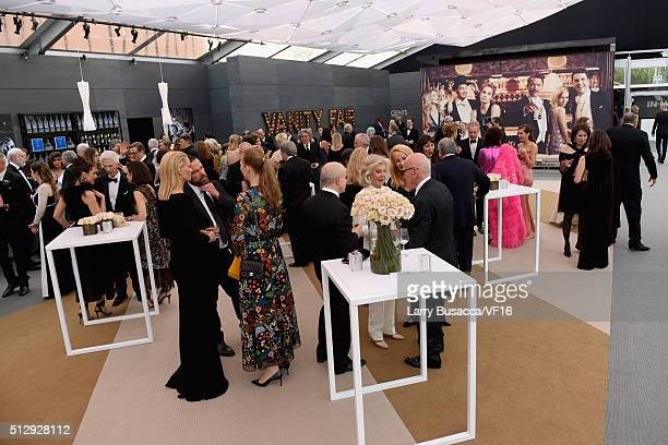Guests attend the 2016 Vanity Fair Oscar Dinner Hosted By Graydon Carter at Wallis Annenberg Center for the Performing Arts on February 28 2016 in...