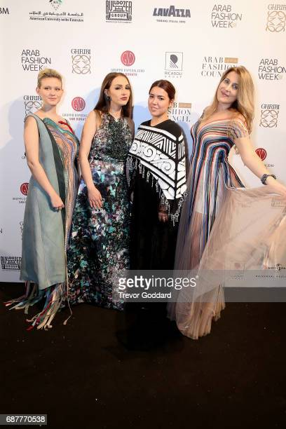 Guests attend the Arab Fashion Week Ready Couture Resort 2018 Gala Dinner on May 202017 at Armani Hotel in Dubai United Arab Emirates