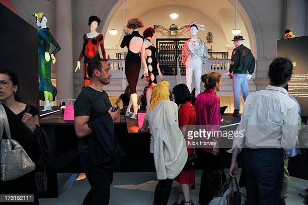 Guests attend the Club To Catwalk London Fashion In The 1980's exhibition at Victoria Albert Museum on July 8 2013 in London England