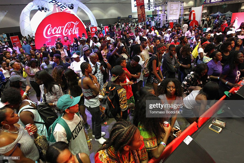 Guests attend the Coke music studio during the 2016 BET Experience on June 25, 2016 in Los Angeles, California.