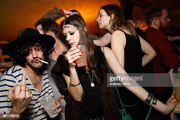 Guests attend the Dandy Diary Zalando Fashion Week Party at Moeckern 120 on January 18 2015 in Berlin Germany
