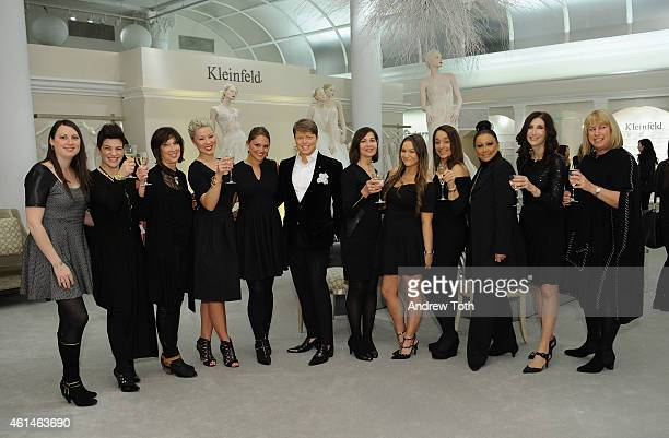 Guests attend the Gilt celebration of Kleinfeld Bridal's first ever digital sample sale in their Manhattan store at Kleinfeld on January 12 2015 in...