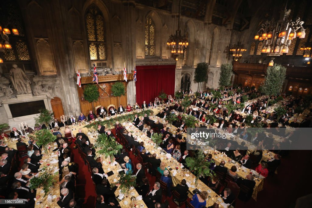 Guests attend The Lord Mayor's Banquet in the Guildhall on November 12, 2012 in London, England. The New Lord Mayor of London Roger Gifford is hosting the annual Lord Mayor's Banquet in London's Guildhall which will feature speeches from the Prime Minister and the Archbishop of Canterbury.