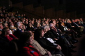 Guests attend The Monuments Men special screening at The Victory Theater at The National WWII Museum on January 23 2014 in New Orleans Louisiana