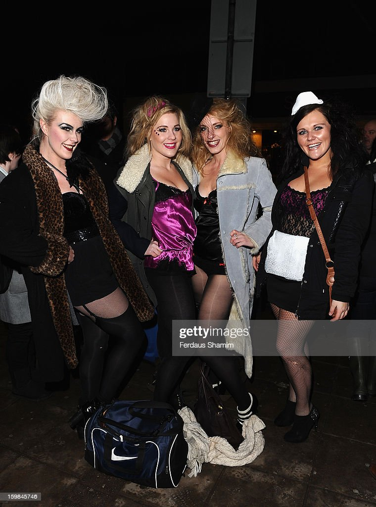 Guests attend the opening night of The Rocky Horror Picture Show at New Wimbledon Theatre on January 21, 2013 in Wimbledon, England.