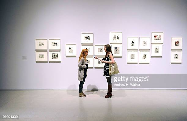 Guests attend the opening night reception for 'William Kentridge Five Themes' and 'Projects 92 Yin Xiuzhen' at The Museum of Modern Art on February...