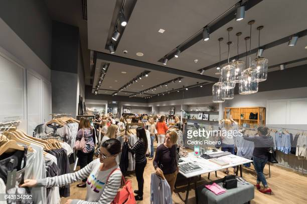 Guests attend the opening of Mint Velvet at Dubai Mall on February 20 2017 in Dubai United Arab Emirates
