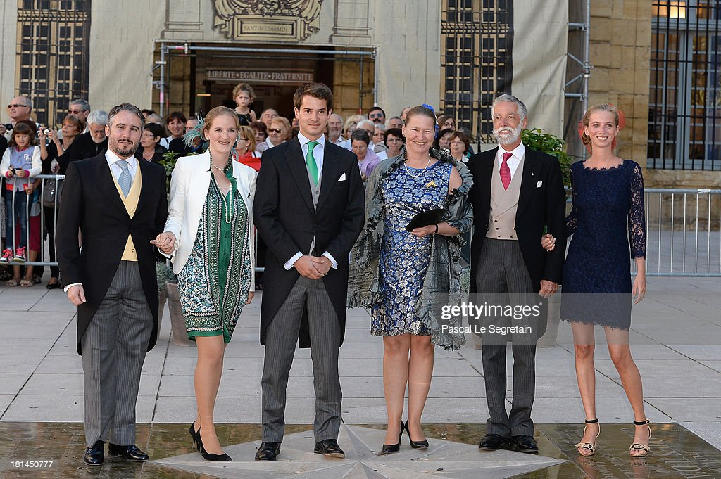 Guests attend the Religious Wedding Of Prince Felix Of Luxembourg and Claire Lademacher at the Basilique Sainte Marie-Madeleine on September 21, 2013 in Saint-Maximin-La-Sainte-Baume, France.