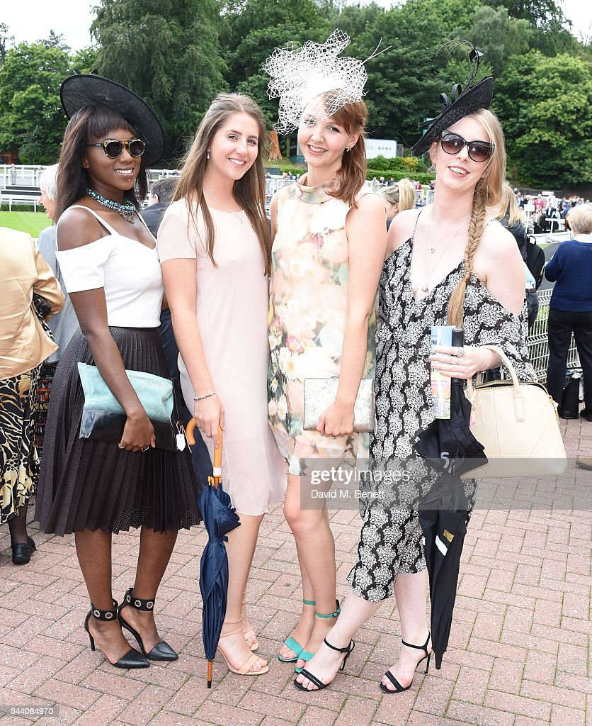Guests attend the Sandown Park Racecourse Ladies' Day STYLE AWARD Hosted by Rosie Fortescue>> at Sandown Park on July 1, 2016 in Esher, England.