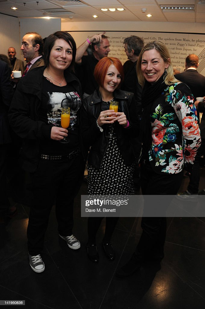 Guests attend the unveiling of a plaque dedicated to David Bowie's famous character Ziggy Stardust on March 27, 2012 in London, England. The plaque has been installed on Heddon Street, London, which was the location of the album cover photograph for 'The Rise and Fall of Ziggy Stardust and the Spiders from Mars'.