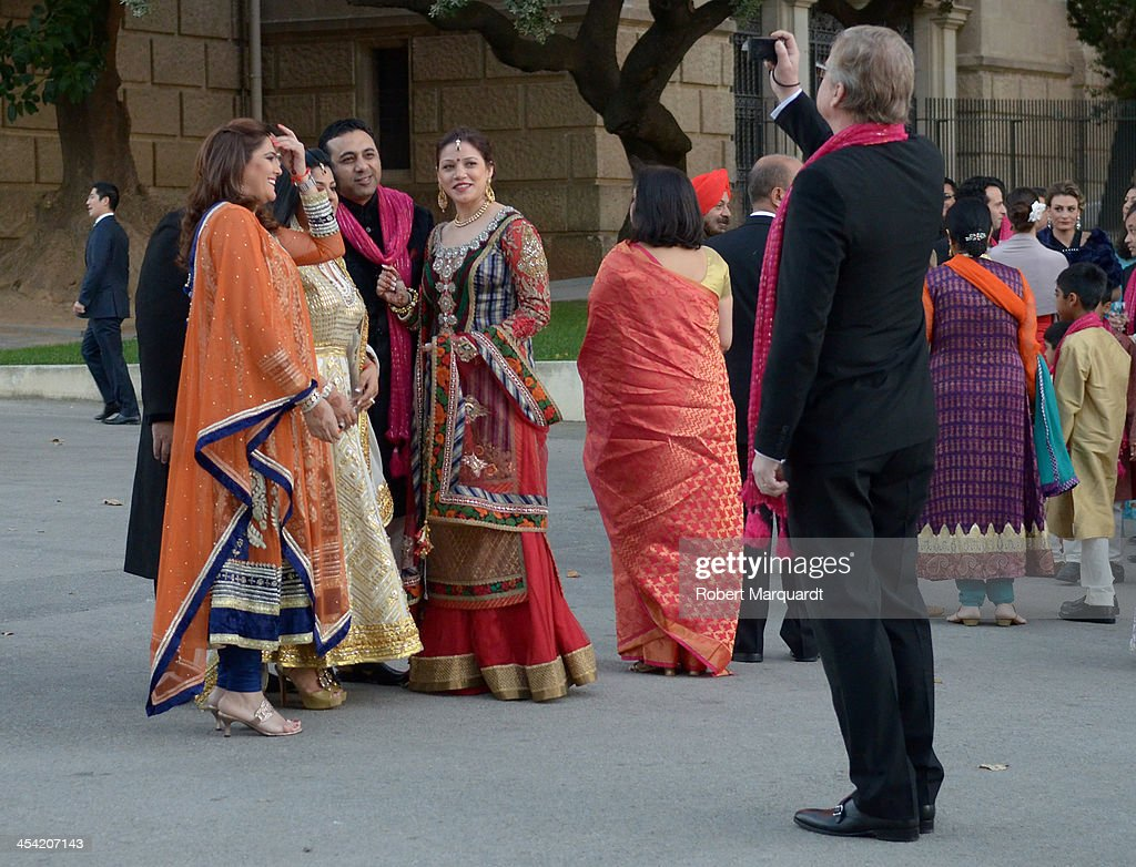 Guests attend the wedding of Shristi Mittal and Gulraj Behl held at the Museo Nacional de Arte de Catalunya (MNAC) on December 7, 2013 in Barcelona, Spain.