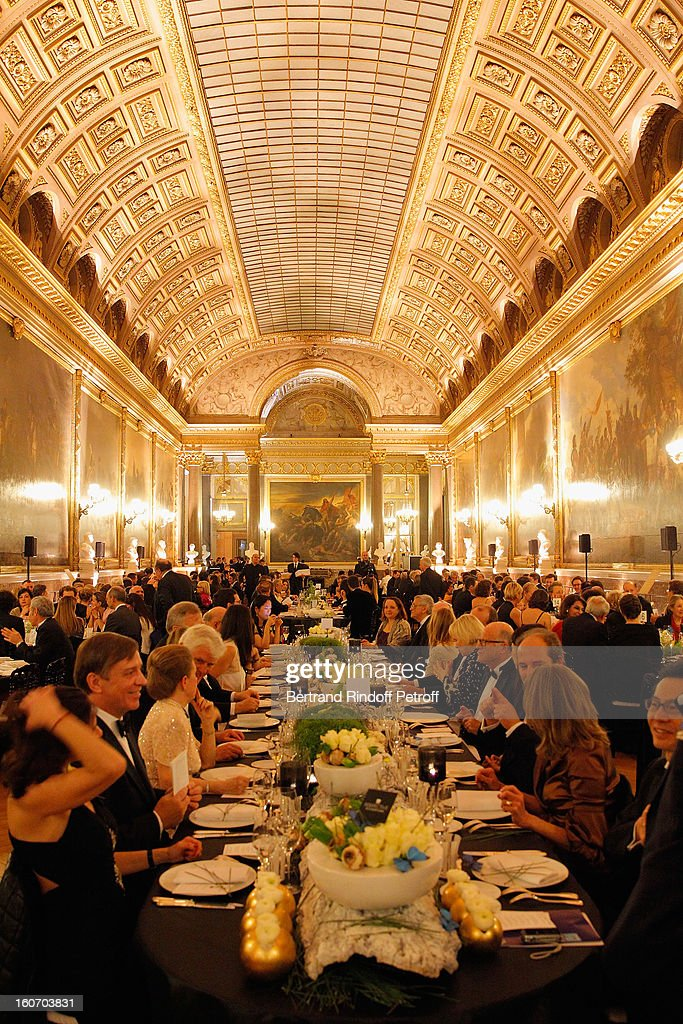 Guests attend the yearly gala dinner of Professor David Khayat's association 'AVEC' in the Hall of Battles at Chateau de Versailles on February 4, 2013 in Versailles, France.