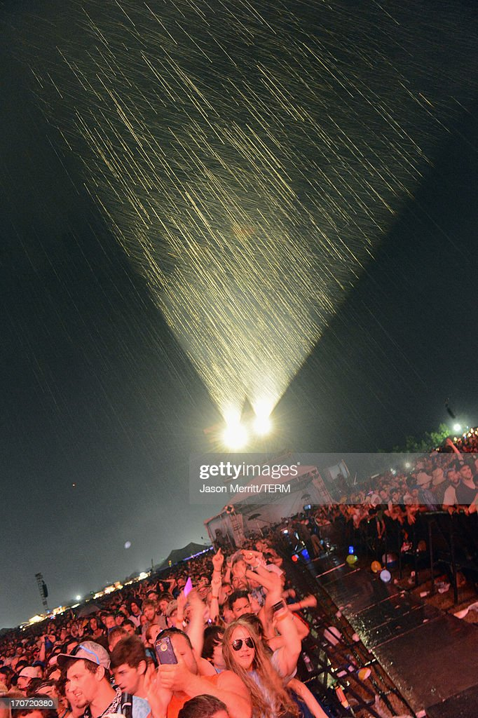 Guests attend Tom Petty & The Heartbreakers at What Stage during day 4 of the 2013 Bonnaroo Music & Arts Festival on June 16, 2013 in Manchester, Tennessee.